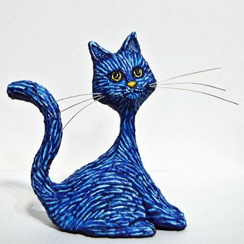 Gato azul noche estrellada