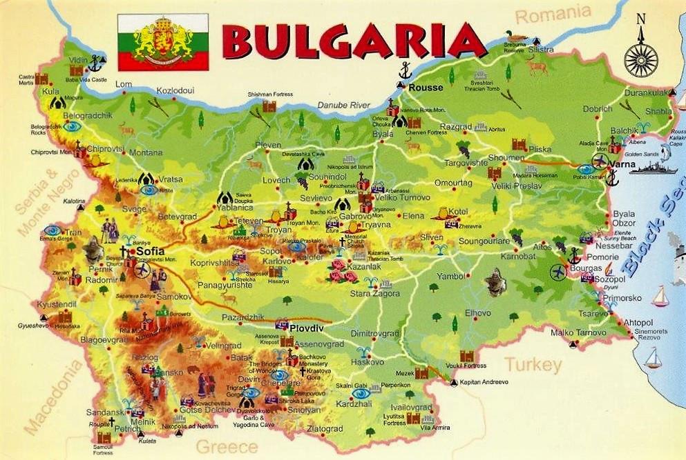 Mapa turístico Bulgaria