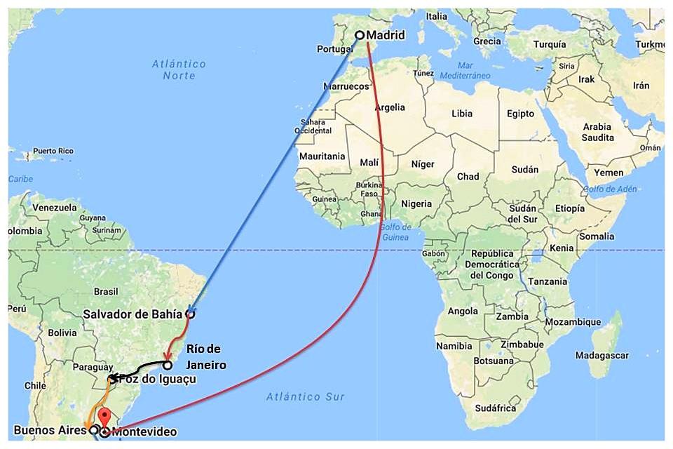 Ruta viaje a América del Sur