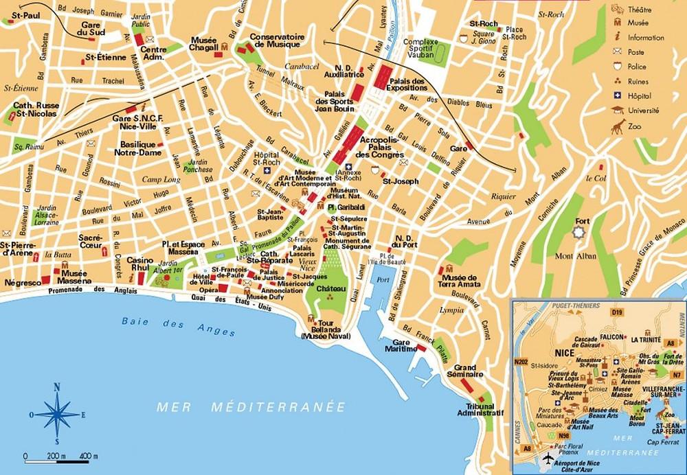 Mapa de Niza (Francia)