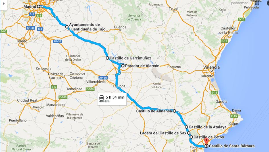 Ruta Madrid-Alicante (Castillos)