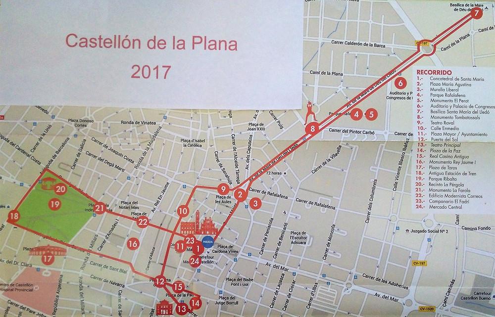 Plano recorrido tren turístico. Castellón