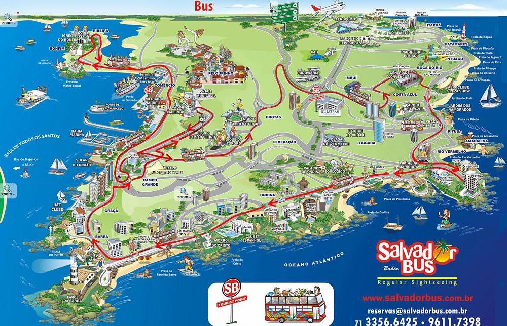 Mapa recorrido bus turístico Salvador de Bahía (Brasil)