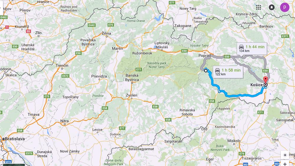Ruta a Kosice (Eslovaquia)
