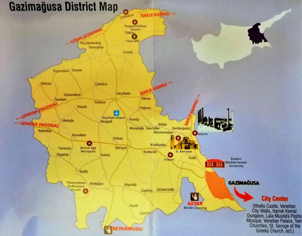 Mapa del distrito de Famagusta, Chipre del norte