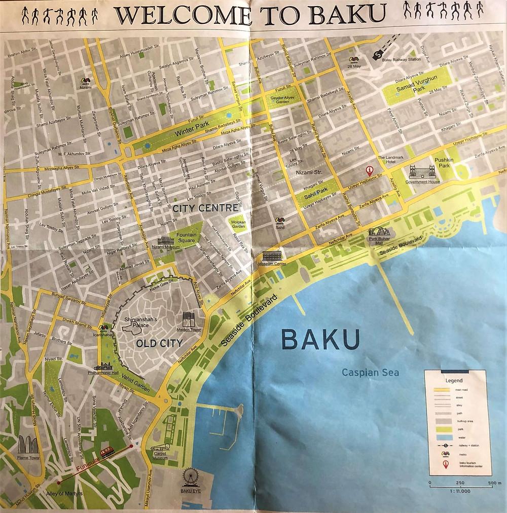 Mapa de Bakú, Azerbaiyán