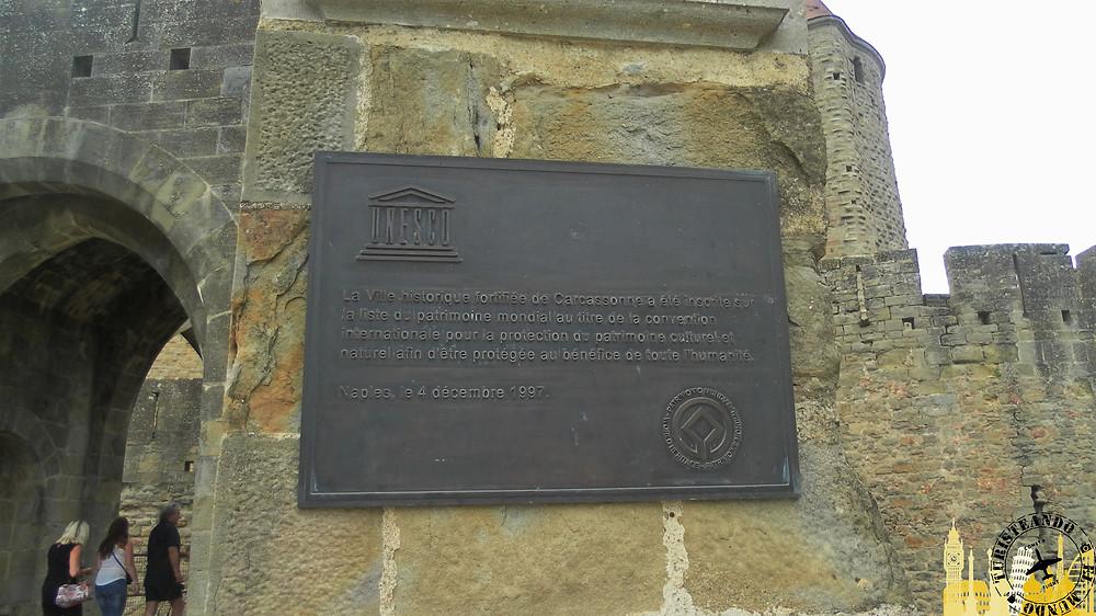 Cartel Unesco. Ciudadela medieval. Carcassonne (Francia)