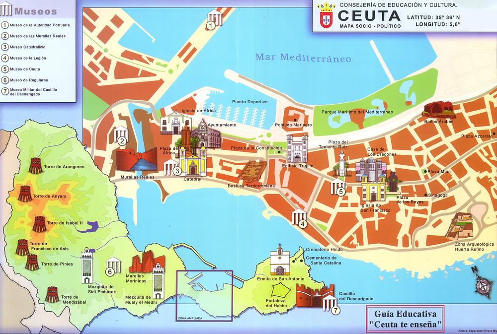 Mapa de Ceuta, España
