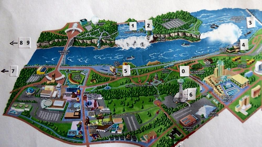 Mapa turístico Cataratas del Niágara