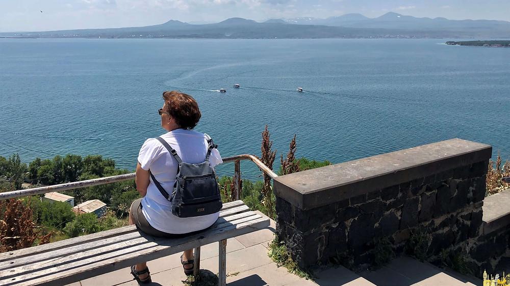 Lago Sevan desde Monasterio de Srvanavank (Armenia)