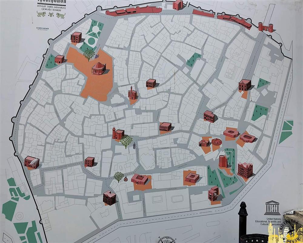 Mapa ciudad vieja de Bakú, Azerbaiyán