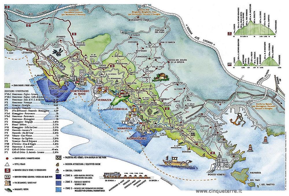 Cinque Terre (Italia). Mapa