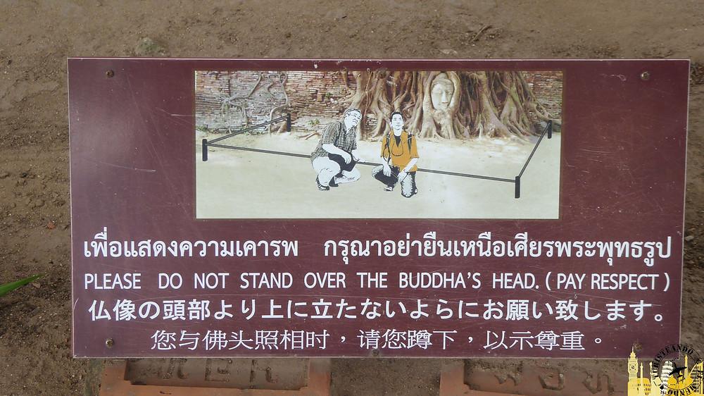 Cartel informativo Templo Wat Maha That (Ayuthayya)