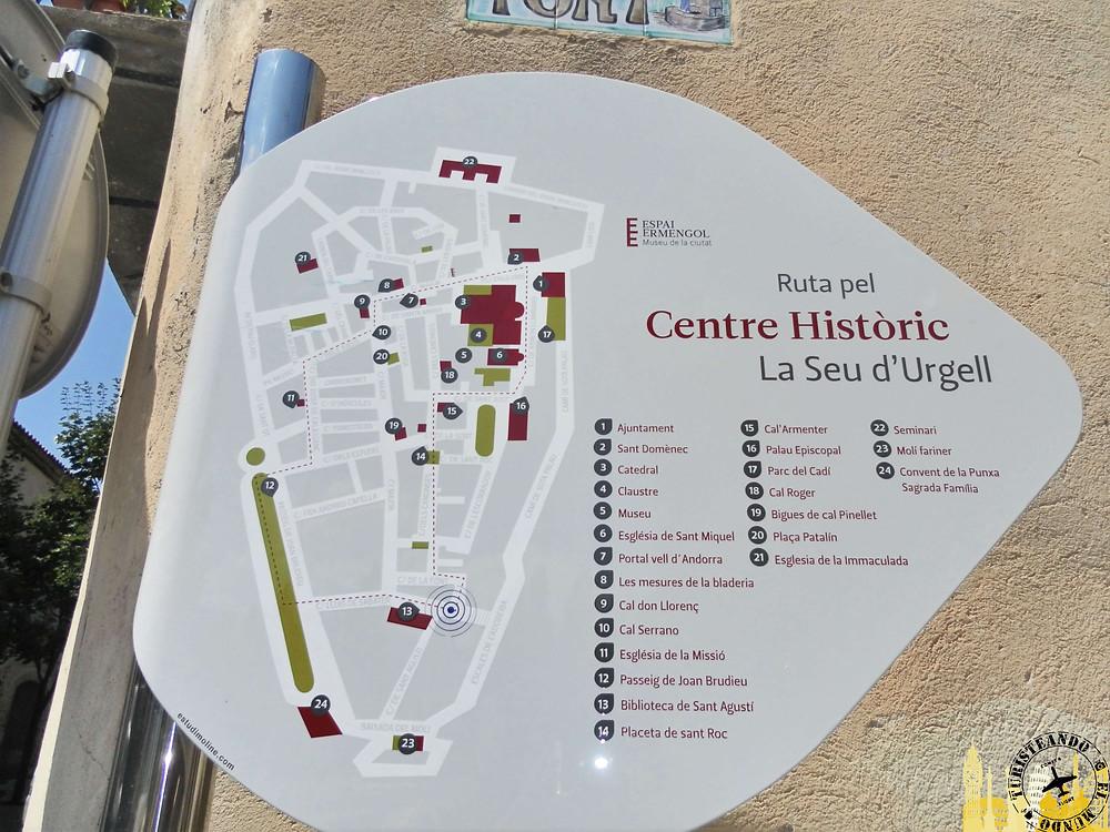 Plano de la ciudad. Seu d´Urgell (Cataluña). España