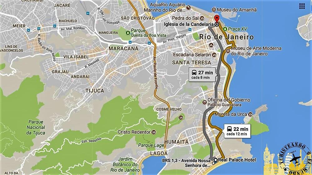 Ruta desde hotel a centro Río de Janeiro