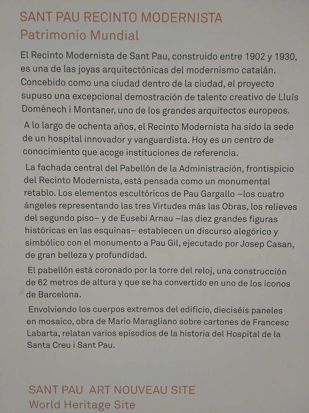 Recinto modernista Hospital Sant Pau (Barcelona)