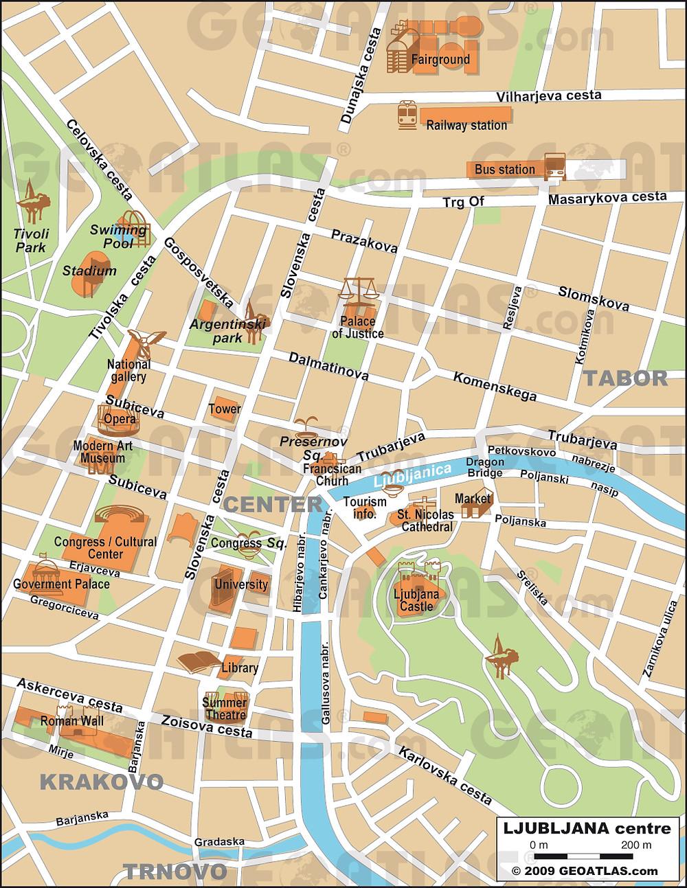 Mapa Liubliana, Eslovenia