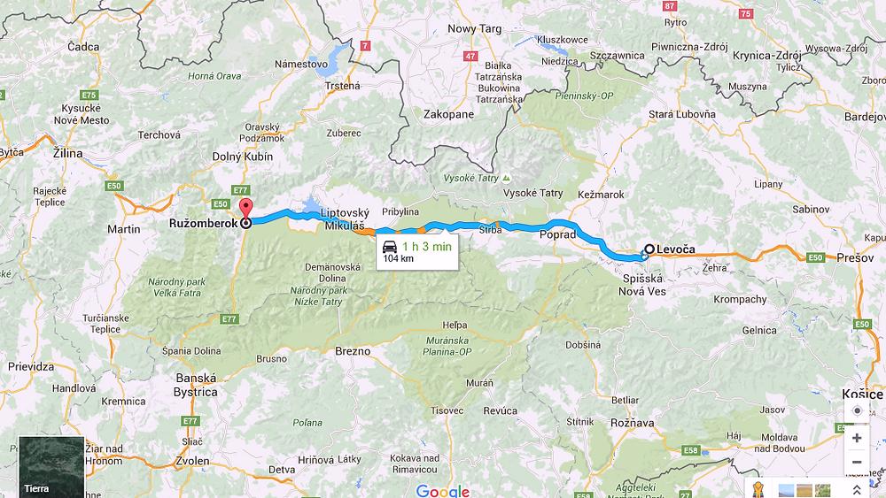 Ruta a Ruzomberok (Eslovaquia)