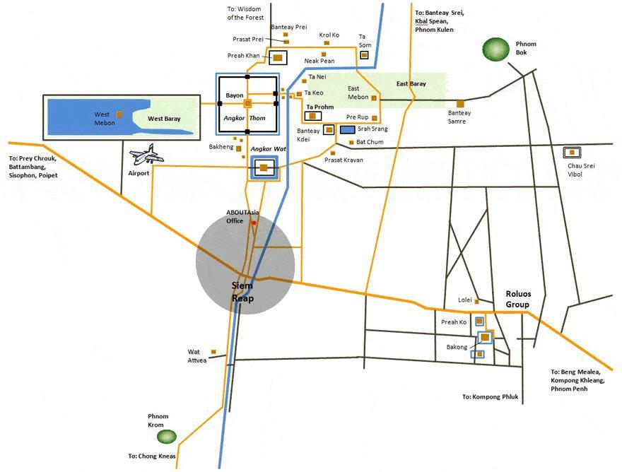 Mapa del complejo, Siem Reap (Camboya)