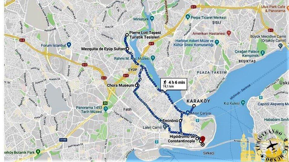 mapa ruta Estambul de Turisteando el Mundo