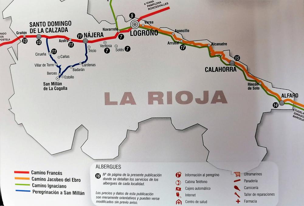mapa del camino de Santiago francés en la Rioja