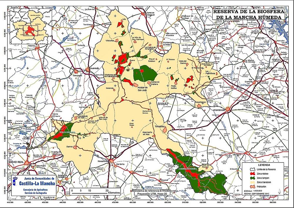 Mapa de la Mancha Húmeda, Castilla la Mancha.