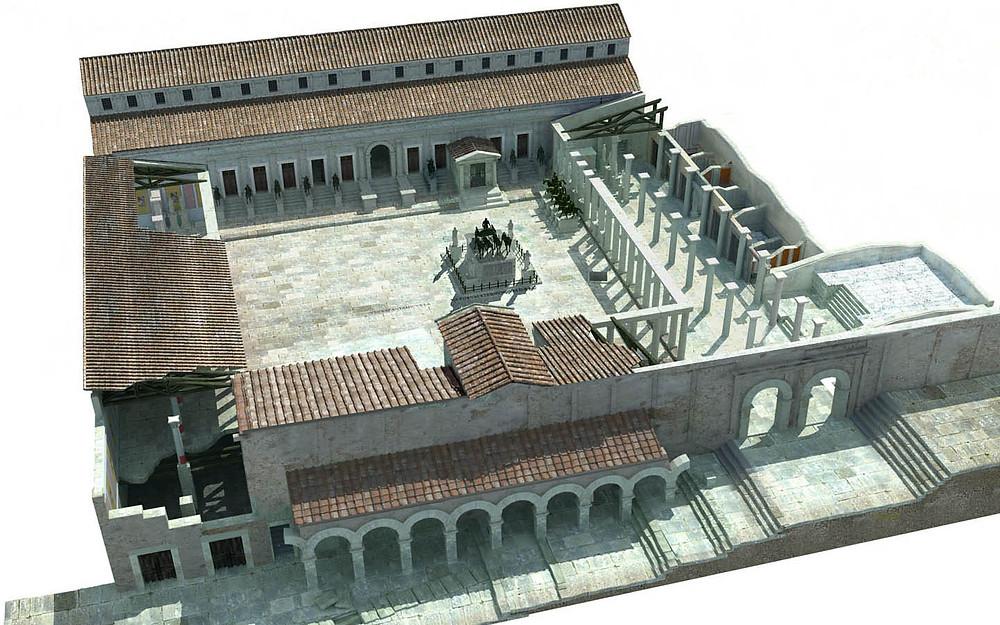 Segóbriga (Cuenca). España. Reconstrucción virtual foro romano