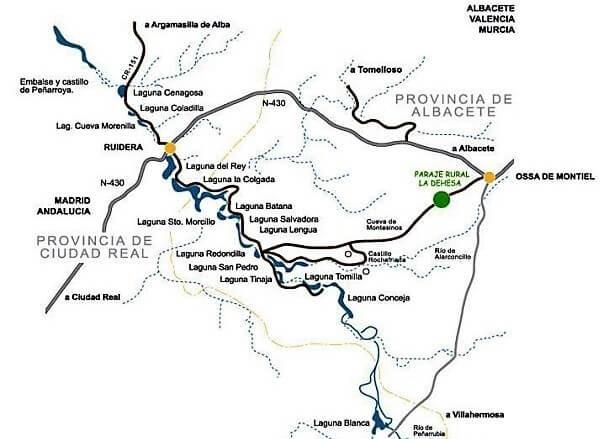 Mapa Lagunas de Ruidera (España)