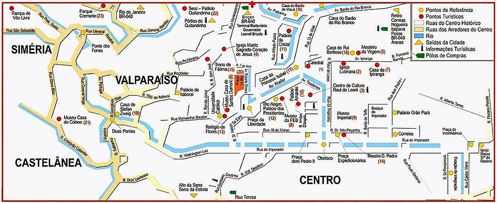 Mapa de Petrópolis (Brasil)