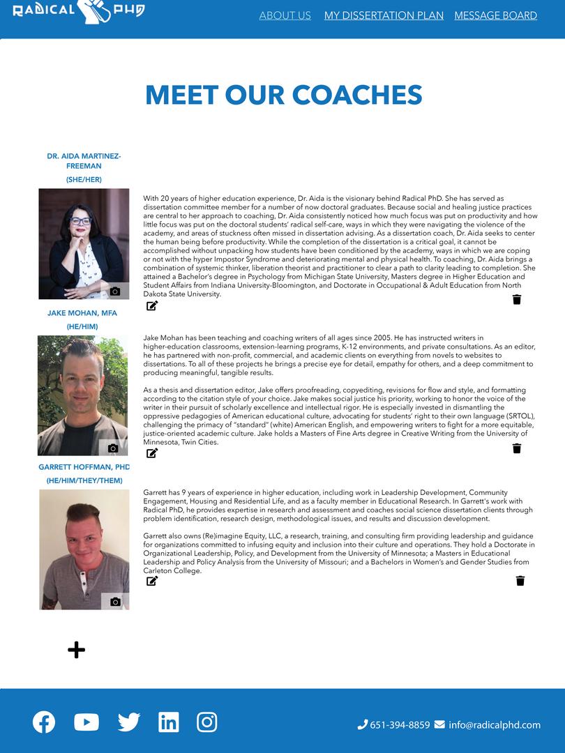 Editable coach page