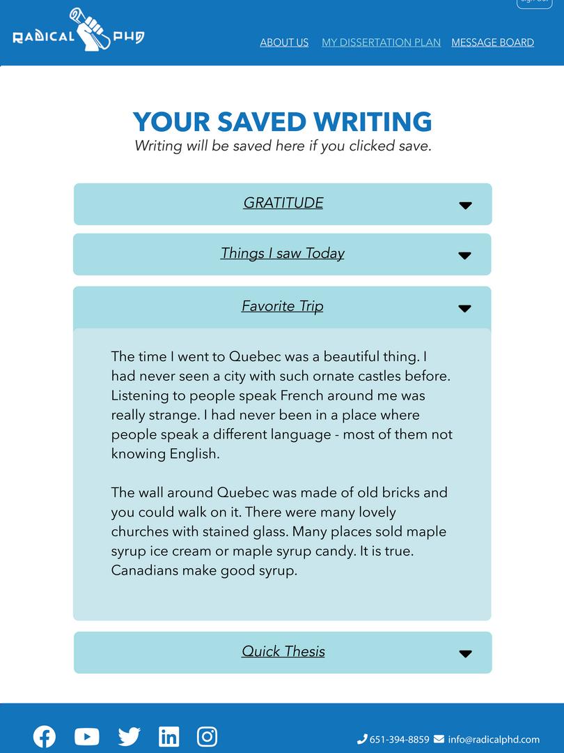 Saved writing