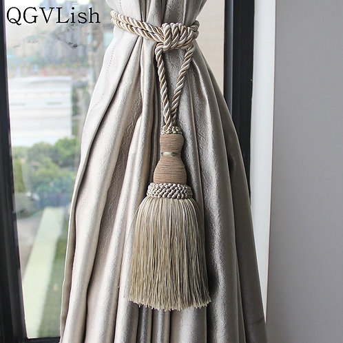 QGVLish 2Pcs Curtain Tiebacks Tassel Fringe Ropes Hanging Belt Brush