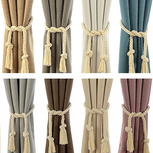 Curtain Buckles Tie Rope Handmade Weaving Cotton Linen Rope