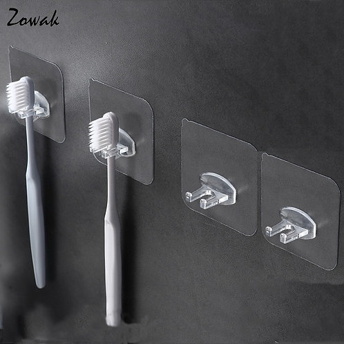 4pcs Toothbrush Holder Transparent Stand Toilet Organizer