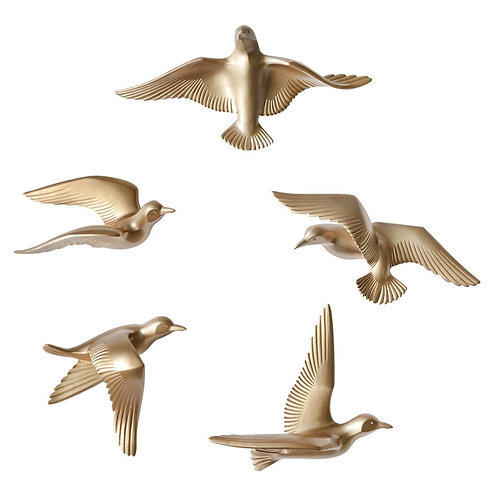 5pcs/Set Creative 3D Resin Bird Home Decoration Decor Wall Stickers Decoration