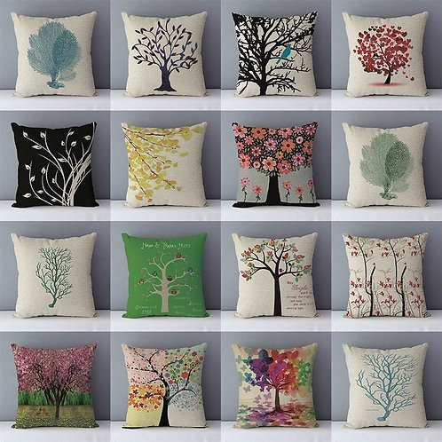 Colorful Plants Life Trees Printed Cushion