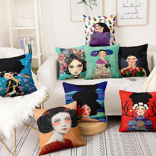 British Art Thin Linen Pillowcase Elegant Woman Painting Cushion