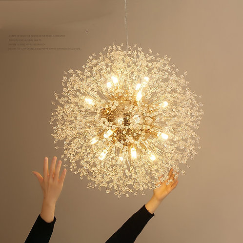 Art Crystal Pendant Lights Spark Ball Gold/Silver Body Dandelion
