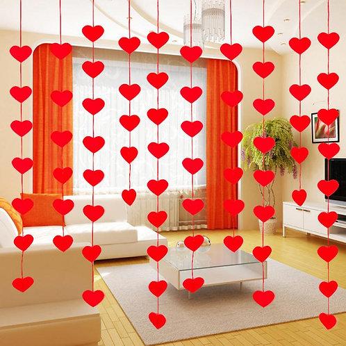 20Pcs/Pack Heart Garland Curtain Non Woven Fabric Red  Window, Door Decor