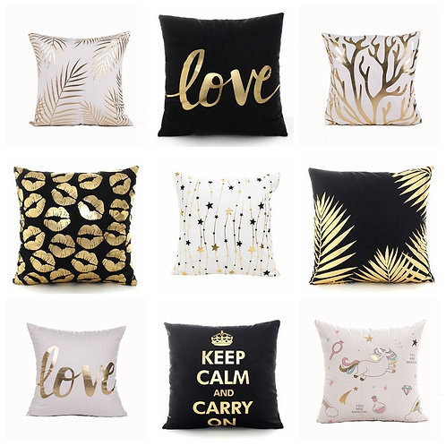 Golden Love Leaves Bronzing Cushion Decorative Pillow