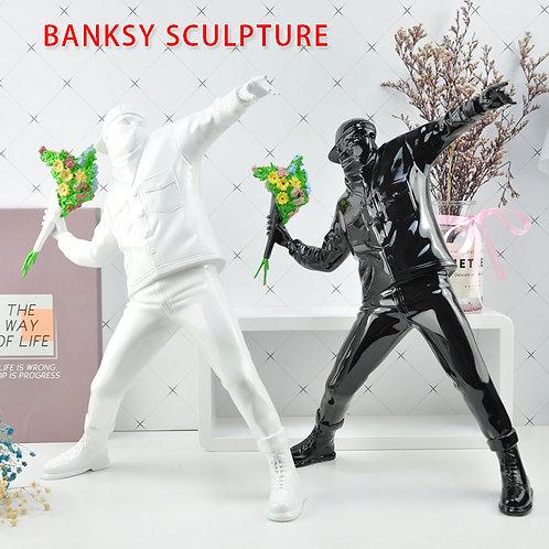 Resin Figurine England Street Art  Banksy Flower Bomber Sculpture