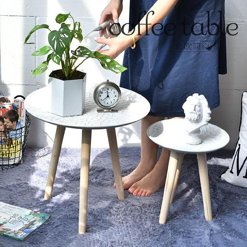 Cutelife Creative Round Nordic Wood Coffee Table Storage