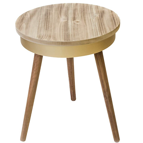 Pine side table with gold trim