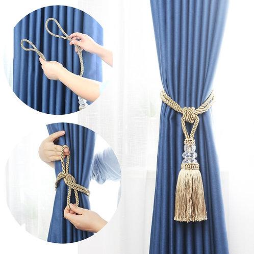 BEL AVENIR 1PCS Curtain Tieback Handmade Home Decor Gold Tassel Tieback