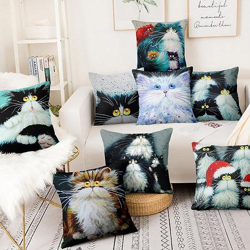 Colorful Cartoon Cat Printed Pillowcase