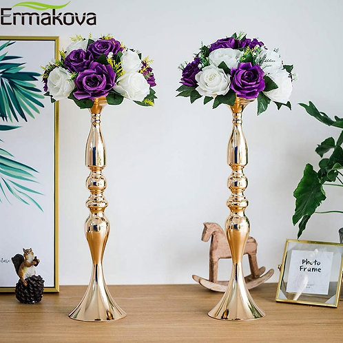 ERMAKOVA Gold Metal Candle Holders Stand Flowers Vase