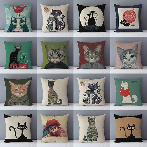 Selected Couch Cushion Cartoon Cat Printed Quality Cotton Linen