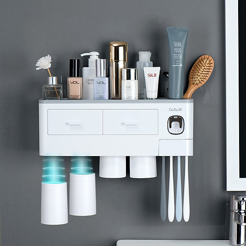 3 Color Bathroom Accessories Toothbrush Holder Automatic Toothpaste Dispenser