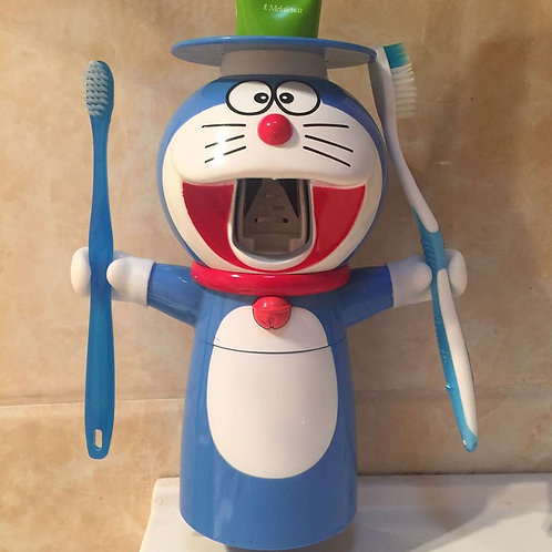 Cartoon Doraemon Automatic Toothpaste Dispenser Squeezer Wall Mount Stand