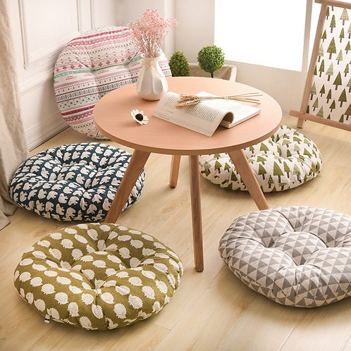 Round Shape 2 Size Seat Cushion Silk Cotton Core Cotton